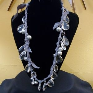 LOFT Grey Ribbon Teardrop Necklace #549